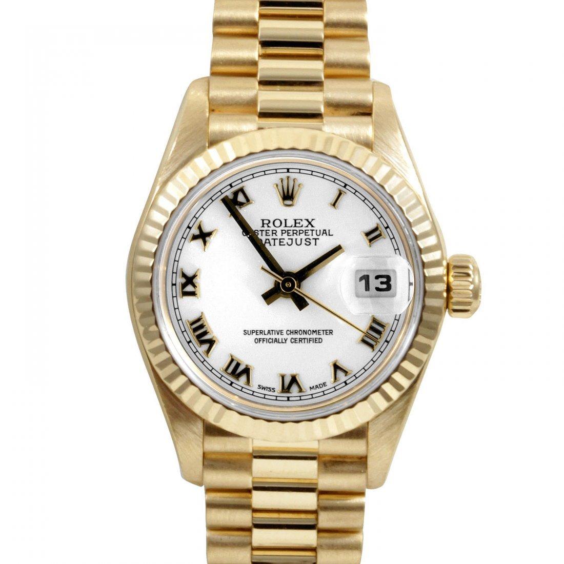 Rolex Ladies 18K Gold President - White Roman Dial