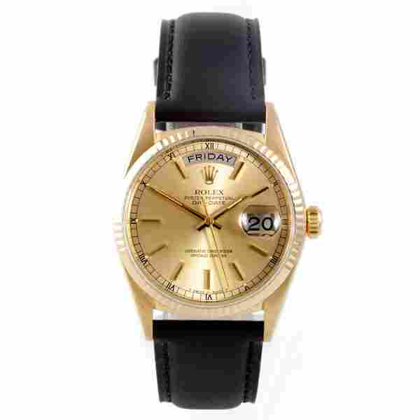 Rolex Mens 18K President-Champagne Dial-Leather Strap