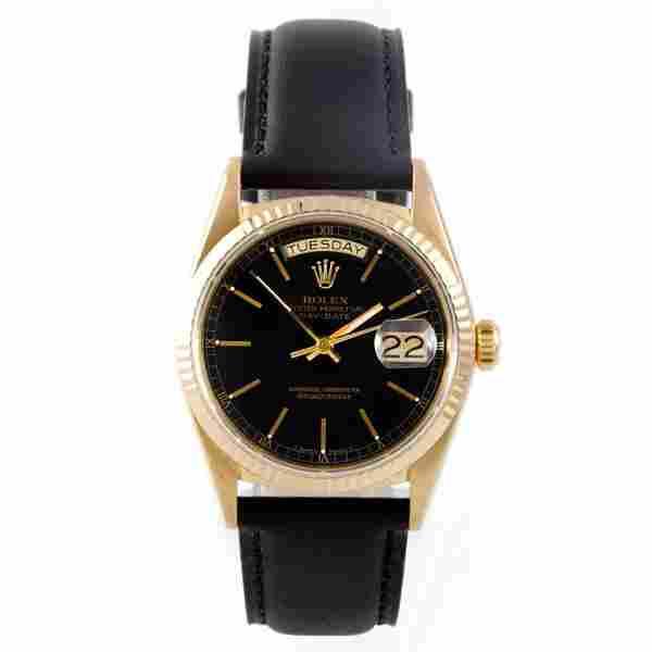 Rolex Mens 18K President-Black Dial-Leather Strap-18038