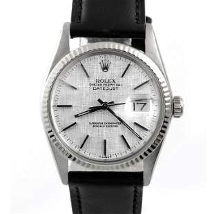 Rolex Mens 16014 Datejust - Silver Linen Dial - Strap