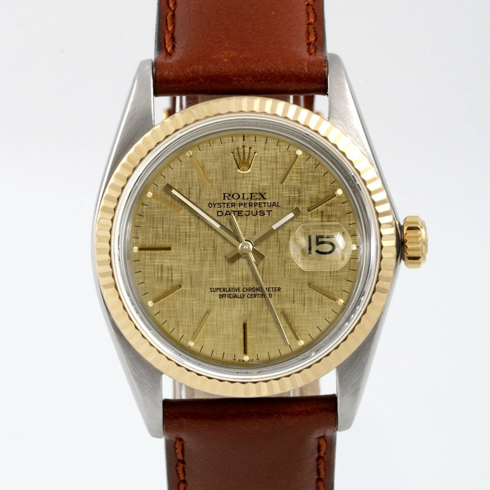 Rolex Mens 2tone Datejust -Champagne Linen Dial - 16013