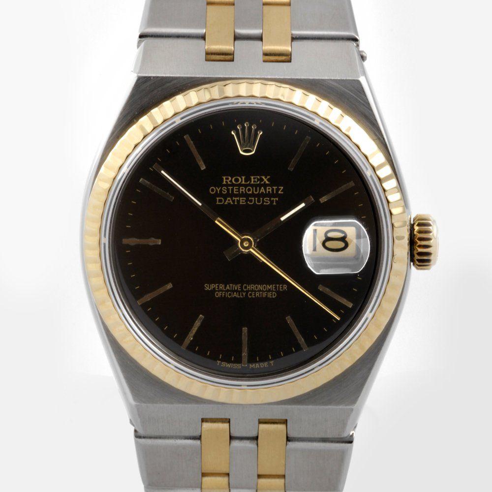 Rolex Mens 18K/SS Oyster-Quartz Datejust - Black Dial