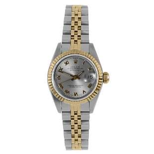 Rolex Ladies 18K/SS Datejust -Slate Roman Dial - 69173