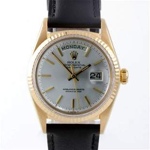 Rolex Mens President - SIlver Dial - Leather Strap 1803
