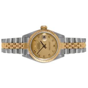 Rolex Ladies 18K/SS Datejust -Champagne Arabic Dial