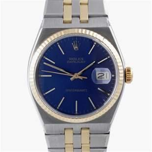 Rolex Mens 18K/SS Oyster-Quartz Datejust - Blue Dial