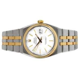 Rolex Mens 18K/SS Oyster-Quartz Datejust - White Dial