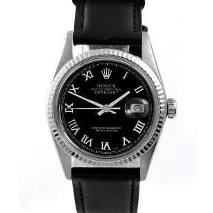 Rolex Mens 16014 Datejust - Black Roman Dial - Strap