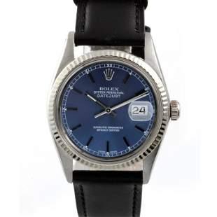 Rolex Mens 16014 Datejust - Blue Dial - Leather Strap