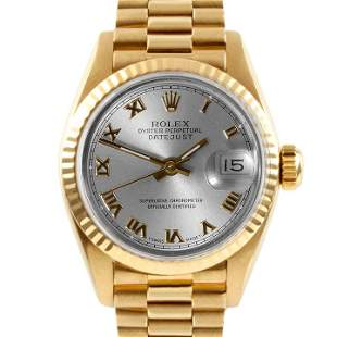 Rolex Ladies 18K Gold President - Slate Roman Dial