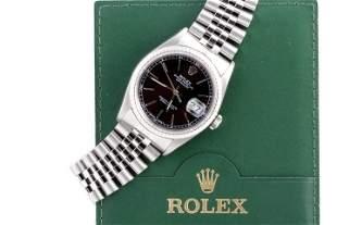 Rolex Mens 16234 Datejust-Black Stick Dial