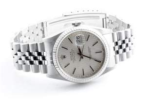 Rolex Mens 16234 Datejust-Silver Tapestry Dial