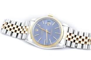 Rolex Mens 2tone Datejust - Blue Stick Dial - 16013