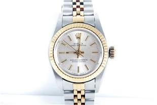 Rolex Ladies 2tone Oyster Perpetual - Silver Dial 67193