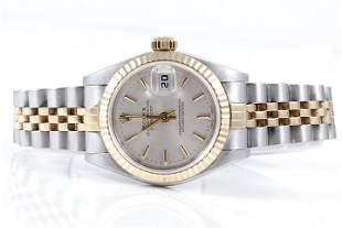 Rolex Ladies 18K/SS Datejust - Silver Stick Dial 69173