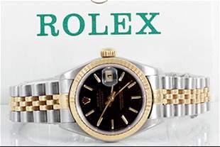 Rolex Ladies 18K/SS Datejust - Black Stick Dial 69173
