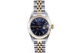 Rolex Ladies 18K/SS Datejust - Blue Stick Dial 69173