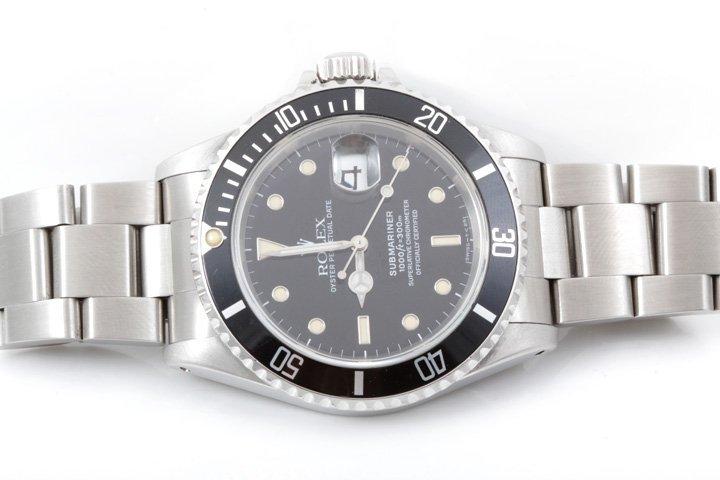 Rolex Mens SS Submariner - Black Dial - 16610