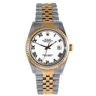 Rolex Mens 18K/SS Datejust - White Roman Dial 16233