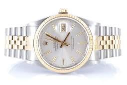 Rolex Mens 18K/SS Datejust - Silver Stick Dial 16233