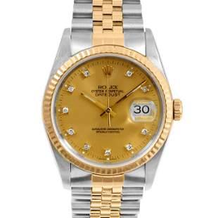 Rolex Mens 18K/SS Datejust - Champagne Diamond Dial