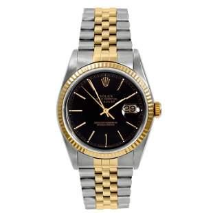 Rolex Mens 18K/SS Datejust - Black Stick Dial 16233