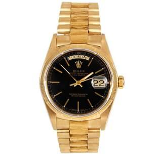 Rolex Mens 18K Gold President - Black Stick Dial 18038