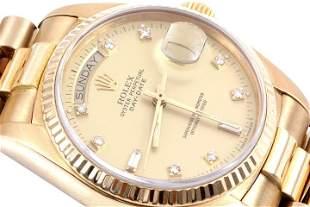 Rolex Mens 18K President - Champagne 8+2 Diamond Dial