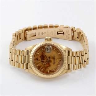 Rolex Ladies 18K Gold President - Burlwood Dial 69178