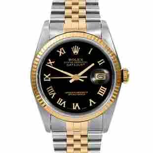 Rolex Mens 18K/SS Datejust - Black Roman Dial 16233