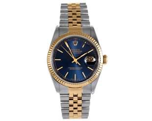 Rolex Mens 18K/SS Datejust - Blue Stick MarkeDial 16233