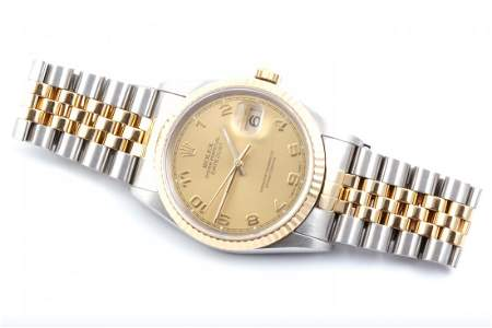 Rolex Mens 18K/SS Datejust- Champagne Arabic Dial 16233