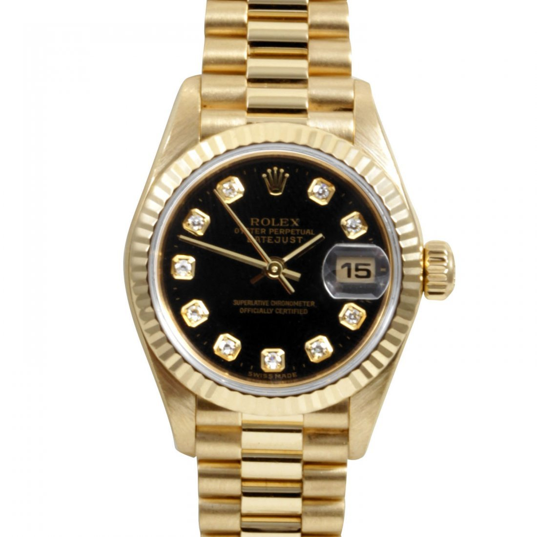 Rolex Ladies 18K Gold President - Black Diamond Dial
