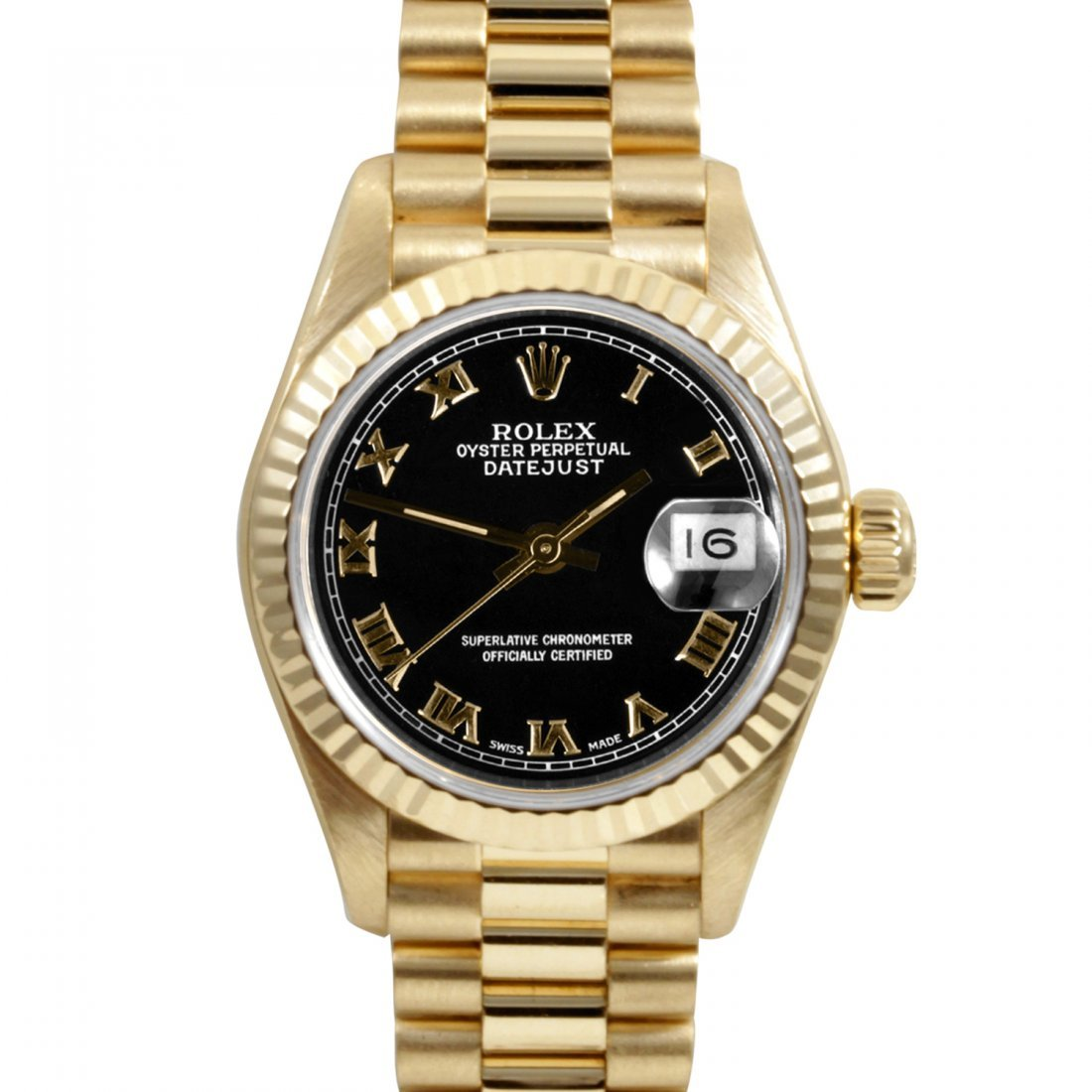 Rolex Ladies 18K Gold President - Black Roman Dial