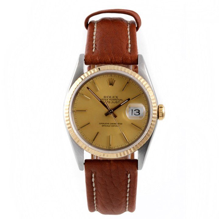 Rolex Mens 2tone Datejust - Leather Strap 16013