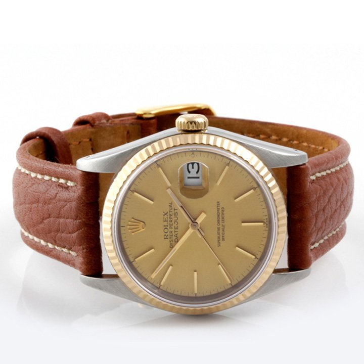 Rolex Mens 2tone Datejust - Leather Strap 16013 - 2