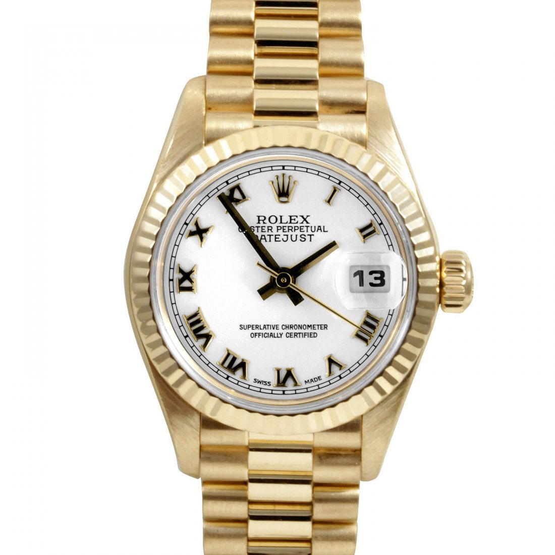 Rolex Ladies 18K Gold President - White Roman Dial