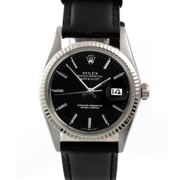 Rolex Mens 16014 Datejust - Black Dial - Leather Strap