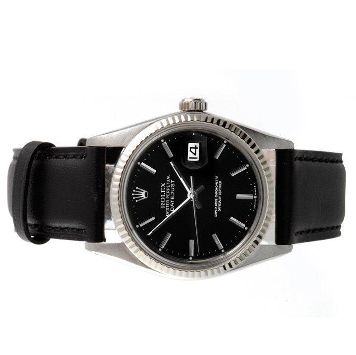 Rolex Mens 16014 Datejust - Black Dial - Leather Strap - 2