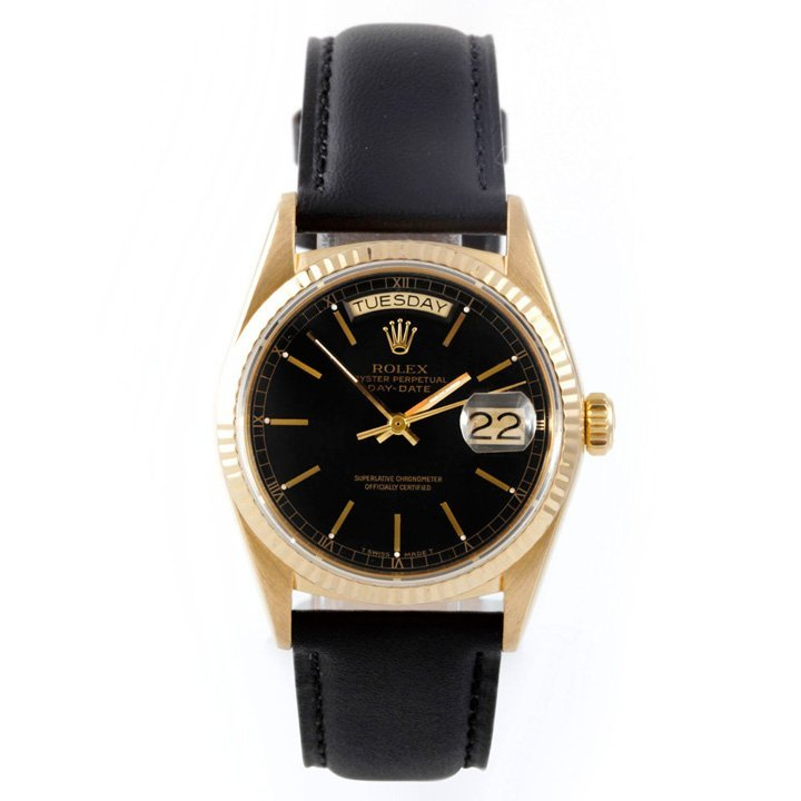 Rolex Mens 18K President-Black Dial-Leather Strap-18038