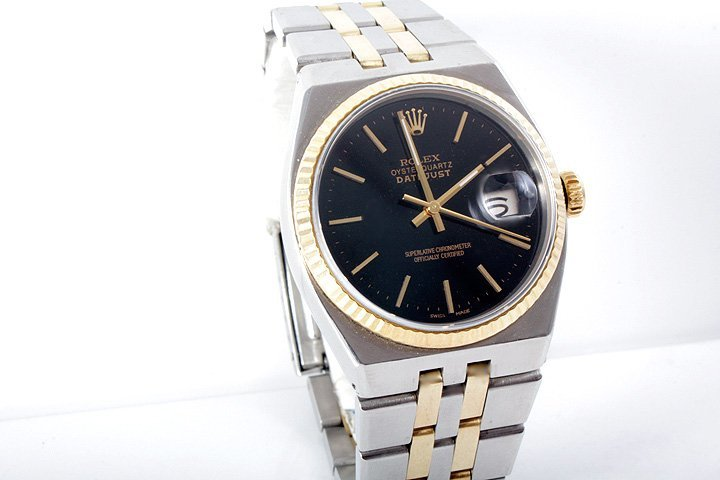 Rolex Mens 18K/SS Oyster-Quartz Datejust - Black Dial