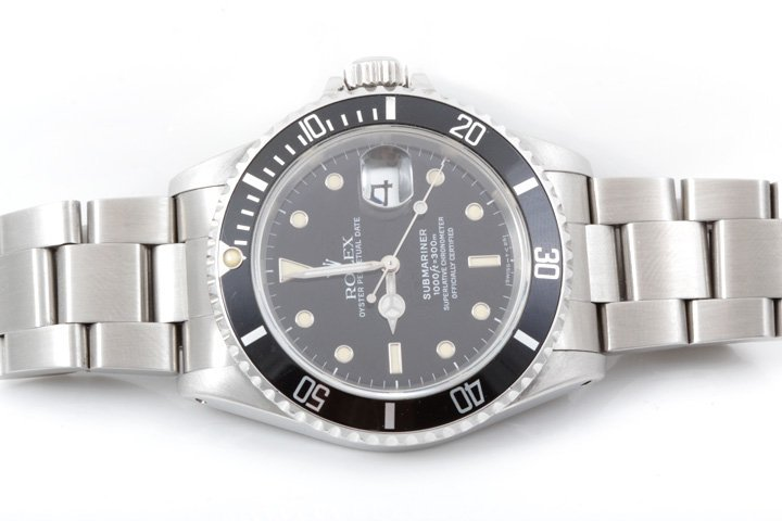 Rolex Mens SS Submariner - Black Dial - 16610
