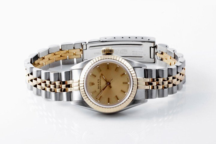 Rolex Ladies 2tone Oyster Perpetual - Champagne Dial