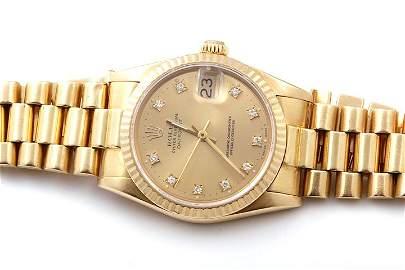 Rolex Midsize 18K President - Champagne Diamond Dial