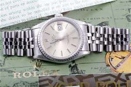 Rolex Mens SS 16220 Datejust - Silver Stick Dial