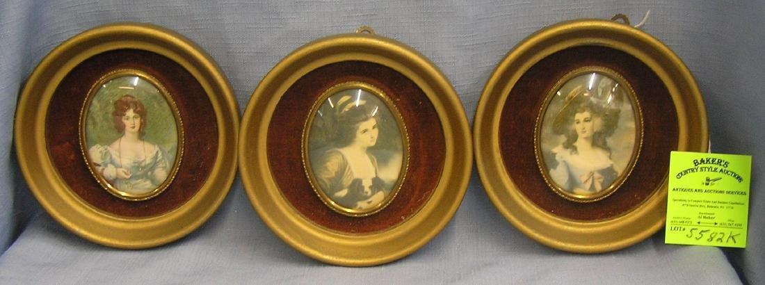 Group of 3 vintage Miniature framed portraits