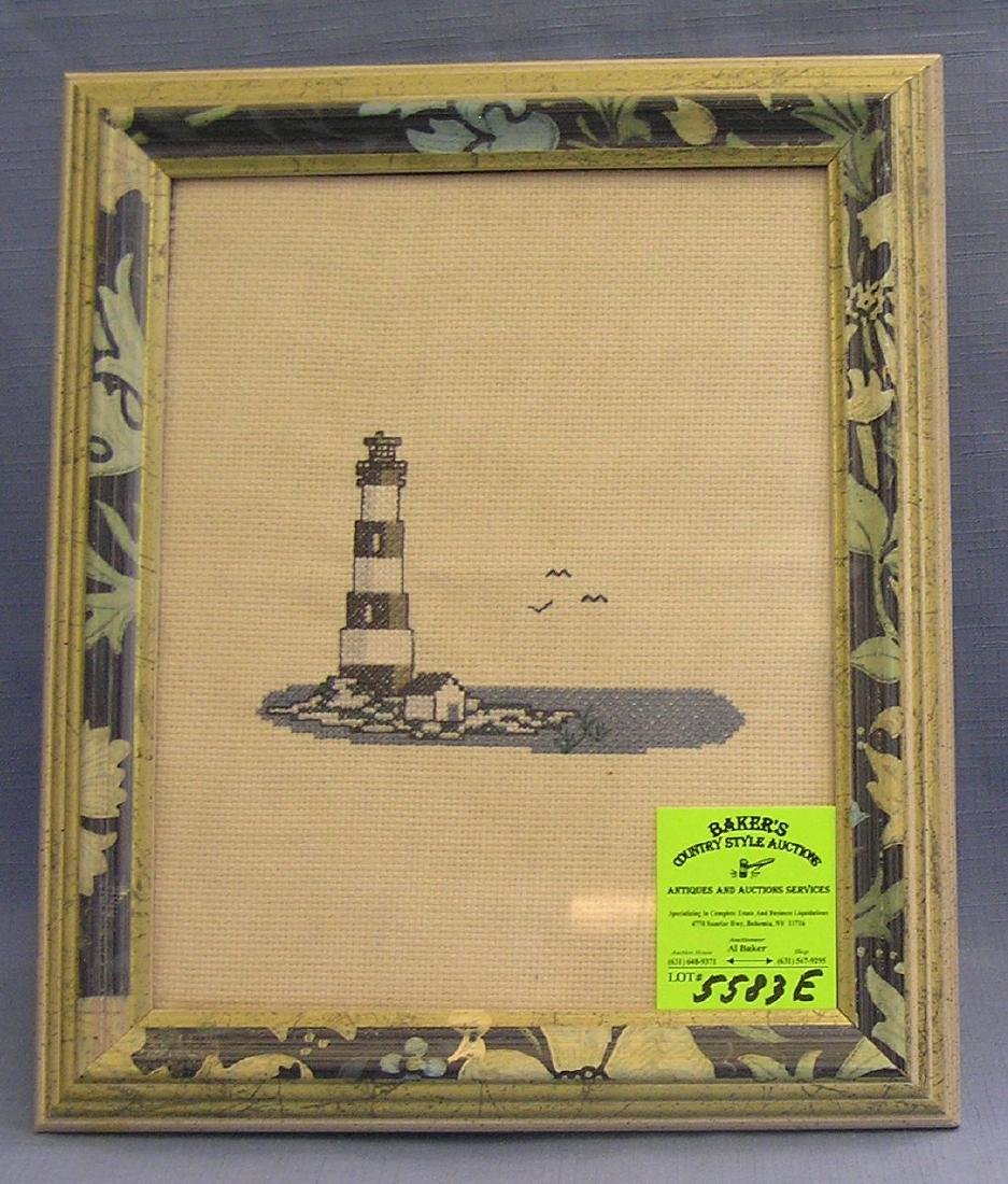 Framed cross stitch lighthouse artwork