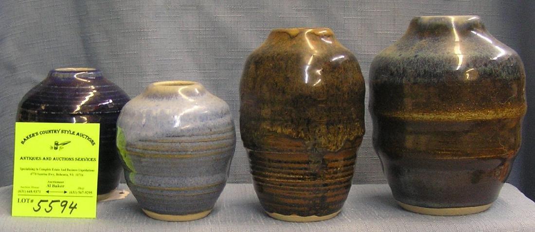 Artist signed Verschure earthen ware vases