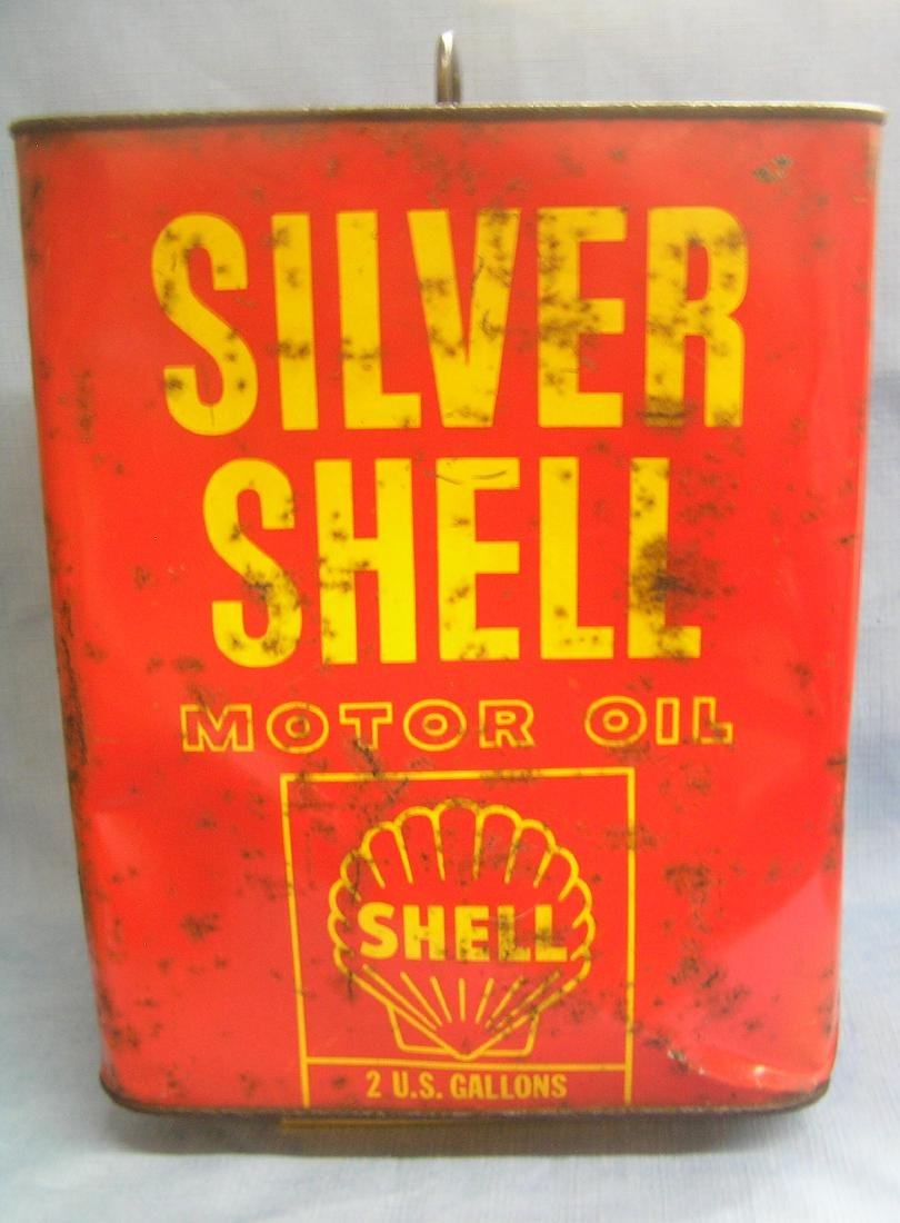Vintage Silver Shell motor oil can