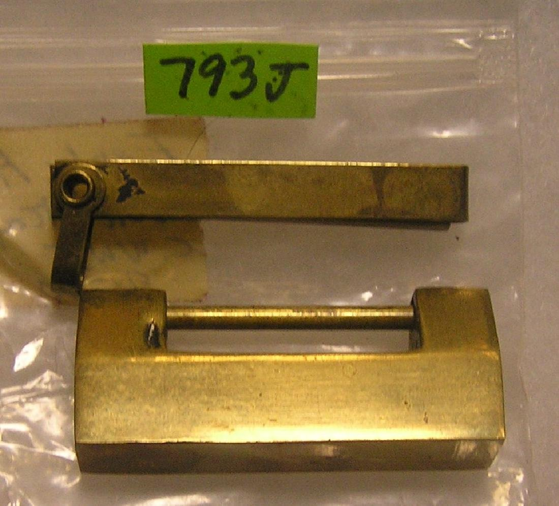 Antique solid brass oriental  lock and key set